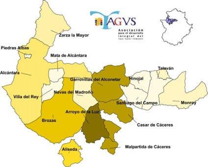 Municipios agrupados en TAGUS